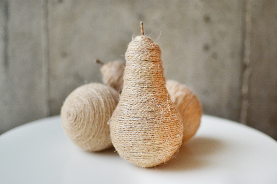 DIY Twine Light Bulb Pears