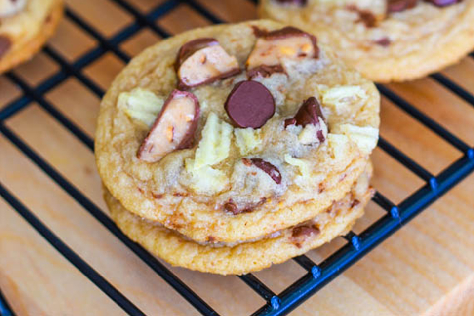 Sweet & Salty Potato Chip Toffee Cookies