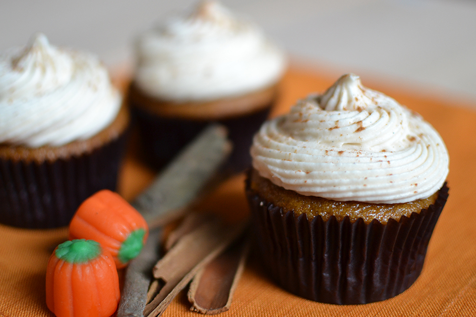 Pumpkin Cupcakes With Cream Cheese Frosting Recipe By Sweet Society